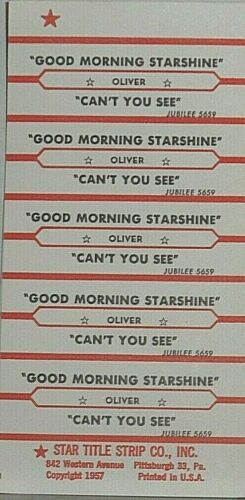 "JUKEBOX TITLE STRIP SHEET - OLIVER ""Good Morning Starshine"" Jubilee 5659"