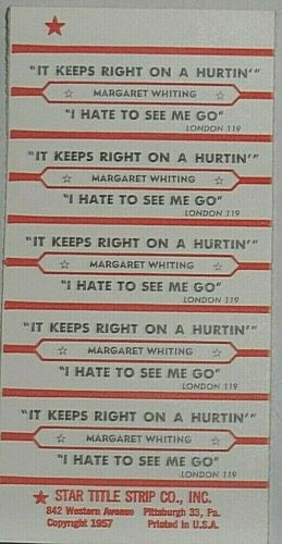"JUKEBOX TITLE STRIP SHEET - MARGARET WHITING ""It Keeps Right On A..."" London 119"