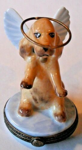 Peint Main Limoges Trinket Box-Dog With Wings And Halo
