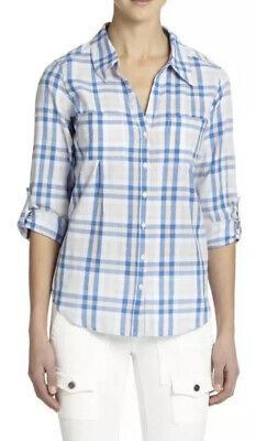 Joie Womens Shirt Cartel Plaid Cotton Roll Sleeve  Blue/White/Peach Oasis Sz M