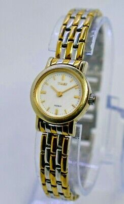 Ladies TIMEX Two-Tone Petite Dress Bracelet Watch, White, Indiglo Analog, -