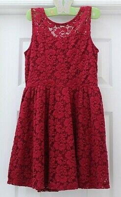 Abercrombie Kids CRANBERRY FANCY DRESS sz 9 10 Girls Flower Party Dress EUC