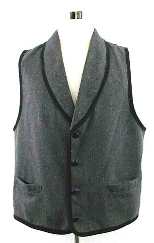 Pioneer Wear Bunkhouse XL Black/Gray Herringbone Leather Button Western Vest