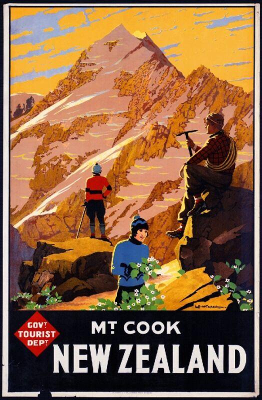 Mt. Cook New Zealand Vintage Travel Advertisement Art Poster