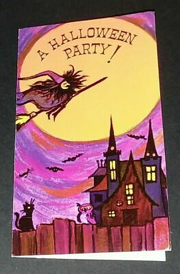 Vintage *UNUSED* Halloween Invitation: Flying Witch, Haunted House, Moon & Bats