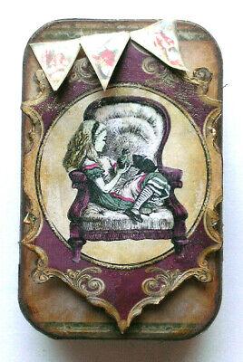 Altered Mixed Media Tin Alice in Wonderland Mini Journal OOAK fantasy playful