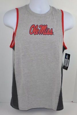 NCAA OLE MISS REBELS Boys 8-20 Gray Fan Gear Tank Top T-Shirt MEDIUM XL