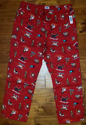 Old Navy Sleep Pant (Women's Old Navy Red Winter Dog Slip On Flannel Sleep Lounge Pants)