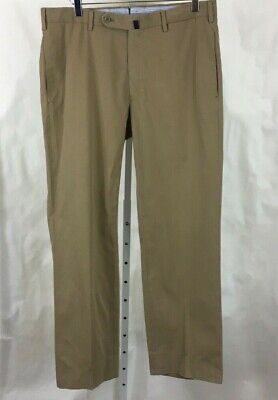 Incotex Mens Incochino Pants Flat Front Khaki Tan Size 34 x 30