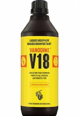 Vanodine V18 Iodine Complex Disinfectant 1 Litre Poultry Pigeons Rabbit.