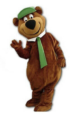Mascotte Orso Yogi bear costume adulti animazione cravatta verde cartone