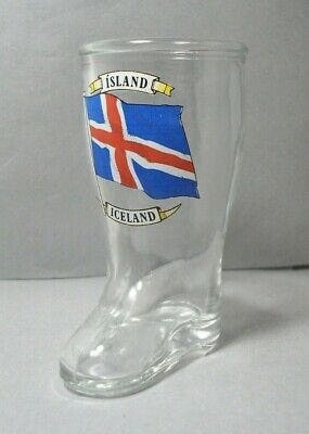 Souvenir Boot Shaped Shotglass from Iceland Island featuring the National (Glasses From Boots)