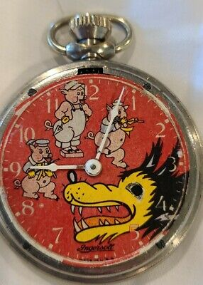 BIG BAD WOLF 1934 POCKET WATCH W/ ENGRAVED BACK BY INGERSOL. WORKING CONDITION