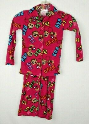 Seven Apparel For Kids Pink Monkey Fleece Pajama Set Infant/ Toddler Girl's 4 I  - Monkey Pajamas For Toddlers