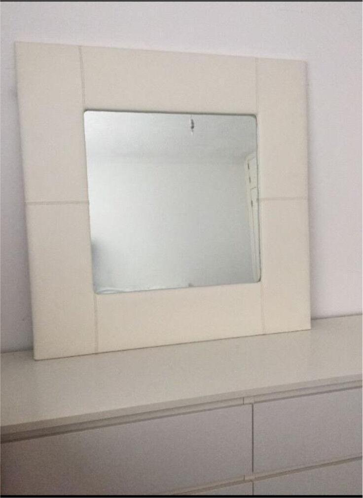 Large Leather Cream Mirror