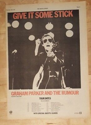 Graham Parker rumour Sticks out tour 1977 press advert Full page 28x39 cm poster