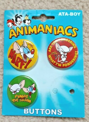 Animaniacs Pins New 3 Pack Buttons PINKY & THE BRAIN lot set 2017 rare narf vtg