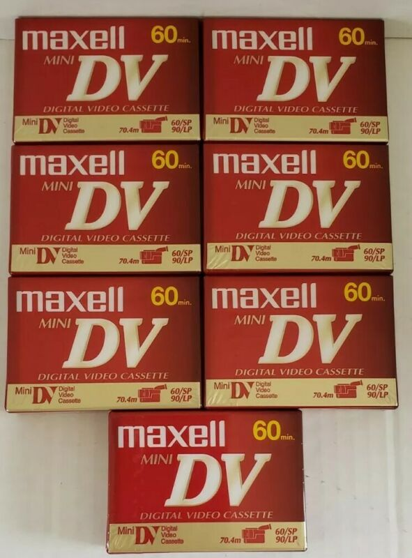 Maxell 60 Min. Mini DV Digital Video Cassette Lot of 7 Sealed Tapes DVM60SE