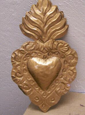 Large 3D Tin Sacred Heart - Golden Patina - Mexico Large Heart Tin