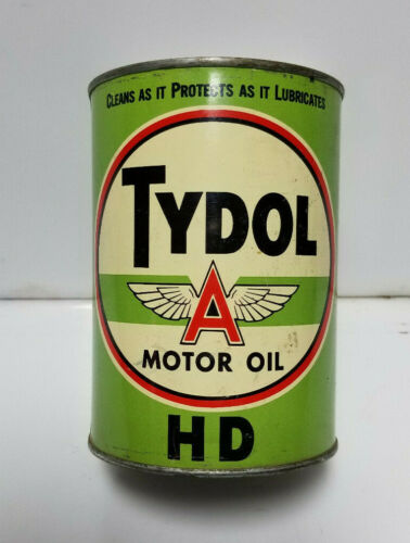 Tydol Oil Can  Flying A  FULL Unopened Metal Can Green SAE 30