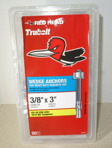 """50 Pack Red Head Trubolt 3/8"""" x 3 inch Steel Heavy Duty Wedge Anchors Concrete"""