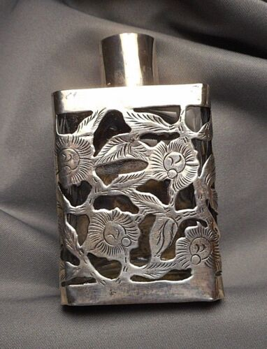 Vintage Mexican Sterling Silver Floral Filigree over Glass Perfume Bottle