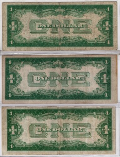 (3) 1928 A & B Complete Series $1 Silver Certificates!  *FUNNY BACK*
