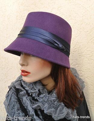 Damen Hut elegante Mode Italien Lila Anlasshüte Damenmützen Wolle schick Herbst Elegante Mode Hut