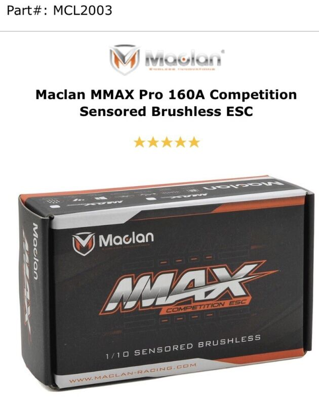 Maclan MMAX Pro 1/10 Competition Sensored 160A ESC MCL2003