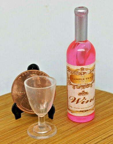 Miniature Dollhouse Pink Wine Bottle & (1) Wine Glass Bar Prop !:6