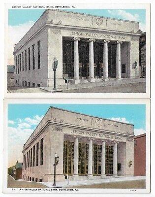 Bethlehem PA Vintage Postcards: Lehigh Valley National Bank, Broad St.  EXC