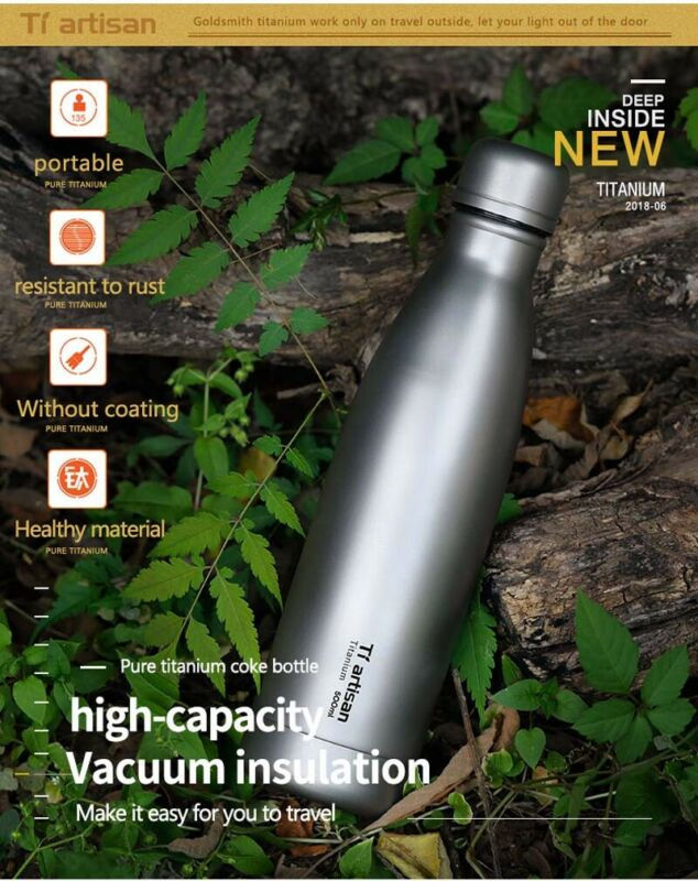 Titanium Water Bottle Double Walled Vacuum Insulated Sports Water Bottle 500ml