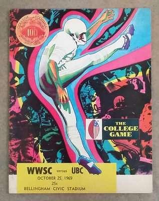 U. OF BRITISH COLUMBIA @ W. WASHINGTON COLLEGE FOOTBALL PROGRAM - 1969 - EX - U Of Washington Football