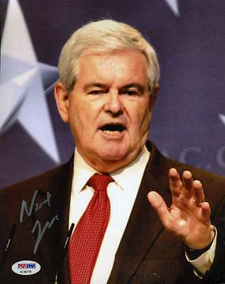 NEWT GINGRICH PSA/DNA COA HAND SIGNED 8X10 PHOTO AUTHENTIC AUTOGRAPH