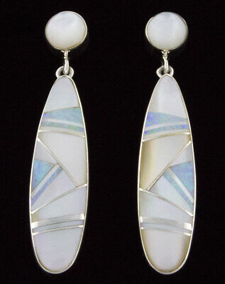 Mother Of Pearl & Opal Inlay Earrings By Navajo Artist Cathy Webster Mother Of Pearl Opal Earrings