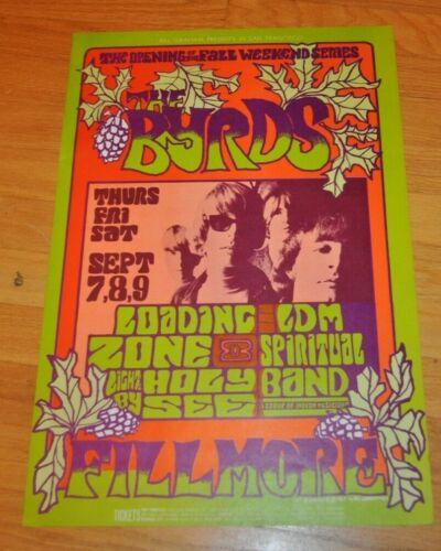 Vintage The Byrds Concert poster 1967 1st Print Concert Poster Bill Graham