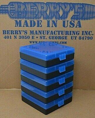 2 X BERRY/'S PLASTIC STORAGE AMMO BOX BLUE COLOR .357//38 ACP 50 rd