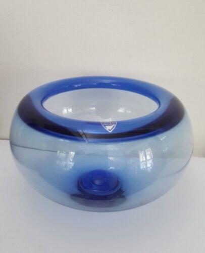 Orrefors Blue Glass Bowl