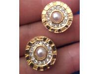 Designer numberal diamond pearl earrings