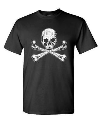 SKULL AND CROSSBONES - Unisex Cotton T-Shirt Tee - Skull Crossbones