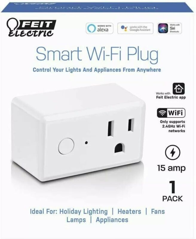 Feit Electric Wifi Smart Plug works with Alexa or Google Home ~NEW~