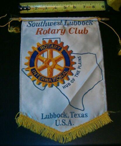 VINTAGE Rotary International Club banner flag LUBBOCK TEXAS