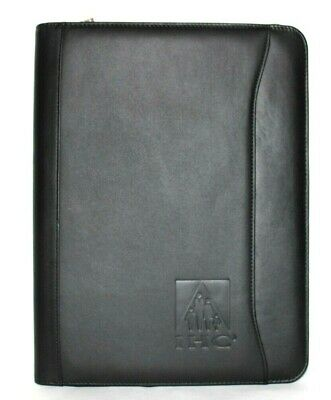 Leeds Black Genuine Leather Writing Pad Zip Portfolio 10x1.5x13.5 New Lk