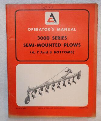 Allis-chalmers 3000 Series Semi-mounted Plows Operators Manual 6 7 8 Bottoms