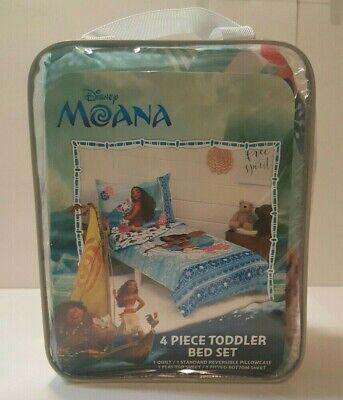 Disney Moana 4Pc Toddler Bedding Set Aqua Bed In A Bag Brand New!!! So Cute!!!