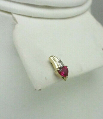10K Ruby Single Earring Shooting Star Design Heart Cut Faceted White Gold Accent Facet Single Heart