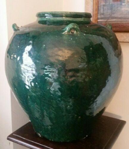 "Antique Chinese Martaban Pottery Storage Jar Green Glaze 15"""