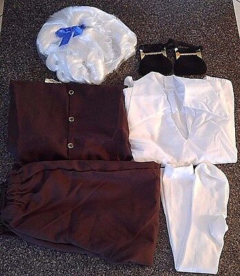 Kids Colonial Boy Costume Knickers Wig Buckles Vest Shirt Socks Small One Size - Boys Colonial Shirt