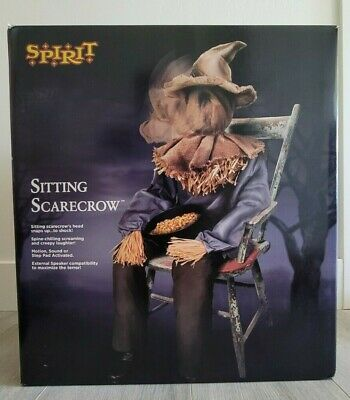 Sitting Scarecrow! SPIRIT Halloween Animatronic, Animated Scare Prop! SEE VIDEO