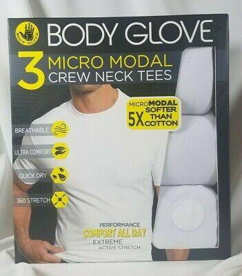 Body Glove 3 Pk Micro-Modal Crew Neck T-Shirts M White SOFT Stretch SHIPS FREE White Stretch Glove